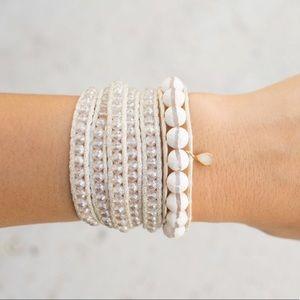 Chan Luu White & Crystal 5-wrap Bracelet